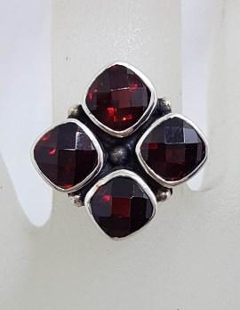 Sterling Silver Garnet Square Cluster Ring