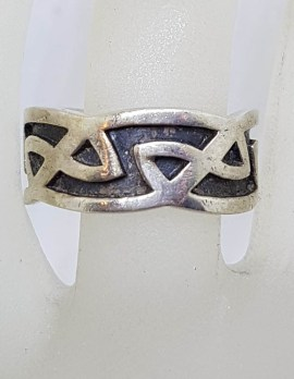 Sterling Silver Wide Celtic Design Band Ring - Wedding Band - Gents Ring / Ladies Ring