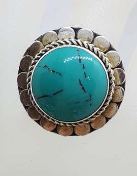 Sterling Silver Large Round Vintage Turquoise Ring with Patterned Rim