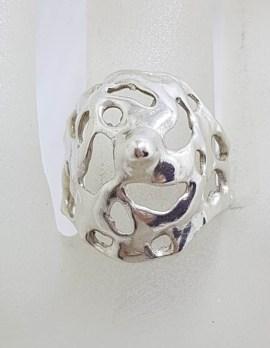 Sterling Silver Large Unusual Freeform Shape Ring - Vintage