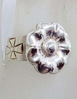 Sterling Silver Heavy Ornate Flower on Band with Cross Design Ring