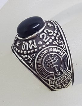Sterling Silver Oval Onyx Wide Ornate University Ring - Gents Ring