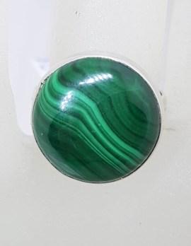 Sterling Silver Large Round Bezel Set Malachite Ring