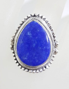 Sterling Silver Large Teardrop / Pear Shape Lapis Lazuli with Ornate Rim Ring