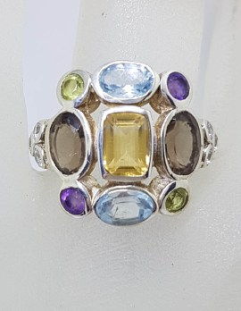 Sterling Silver Large Multi-Colour Large Cluster Ring with Topaz, Amethyst, Smokey Quartz, Citrine and Peridot