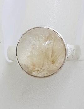 Sterling Silver Large Round Bezel Set Rutilated Quartz Ring