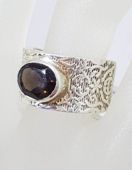 Sterling Silver Oval Faceted Bezel Set Smokey Quartz in Wide Patterned Ring