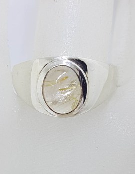 Sterling Silver Oval Cabochon Cut Bezel Set Rutilated Quartz Ring