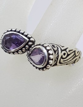 Sterling Silver Teardrop / Pear Shaped Amethyst with Unusual Design and Patterned Sides Ring