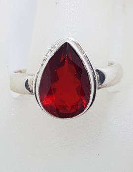 Sterling Silver Teardrop / Pear Shaped Red Stone Ring