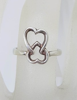Sterling Silver Entwined Hearts Ring