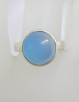Sterling Silver Round Bezel Set Chalcedony Ring