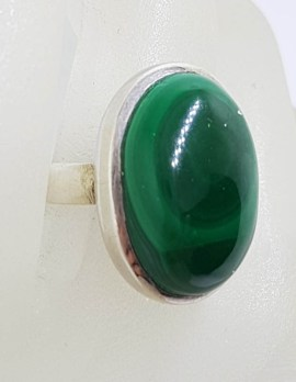 Sterling Silver Oval Malachite Ring