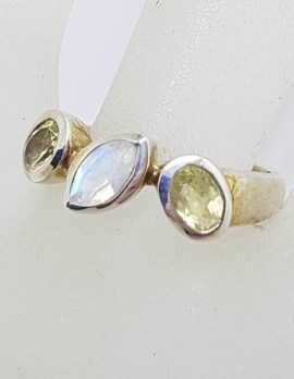 Sterling Silver Marquis Leaf Shape Moonstone with 2 Oval Citrines Ring