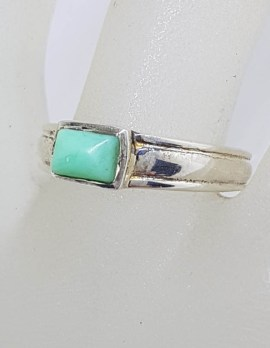Sterling Silver Rectangular Turquoise in Band Ring