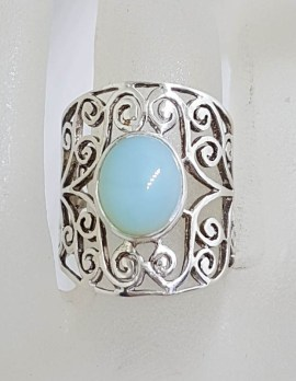 Sterling Silver Wide Oval Cabochon Cut Chalcedony Ornate Filigree Ring