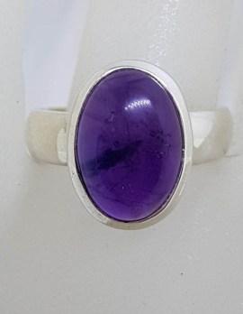 Sterling Silver Oval Cabochon Cut Amethyst Ring
