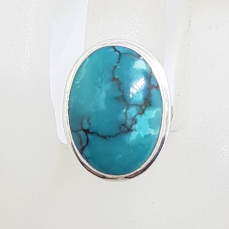 Sterling Silver Bezel Set Large Oval Turquoise Ring