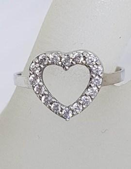 Sterling Silver Cubic Zirconia Heart Shape Ring