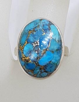 Sterling Silver Large Oval Bezel Set Blue Copper Turquoise Ring