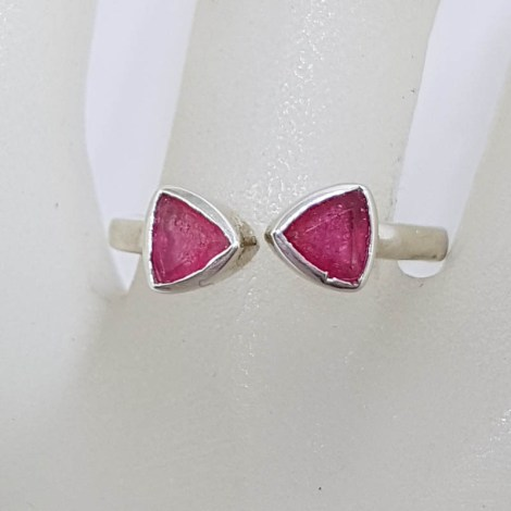 Sterling Silver Bezel Set 2 Triangular Ruby Ring