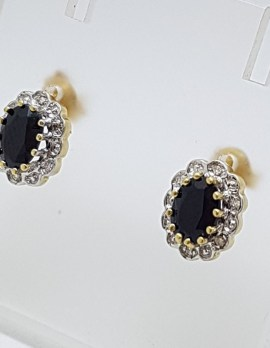 9ct Yellow Gold Oval Natural Sapphire and Diamond Cluster Stud Earrings