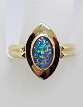 9ct Yellow Gold Oval Opal Triplet in Canoe Shape Ring - Antique / Vintage
