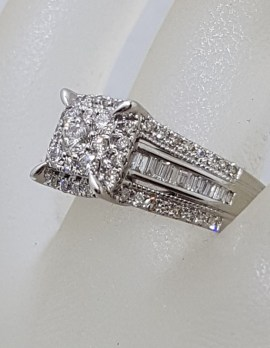 10ct White Gold Claw Set and Channel Set Large Square Diamond Cluster Engagement Ring / Dress Ring