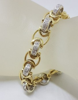 9ct Yellow Gold and White Gold Heavy Cubic Zirconia Bolt Clasp Bracelet - Beautiful Link