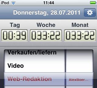 Zeiterfassung mit dem Ipod-Touch