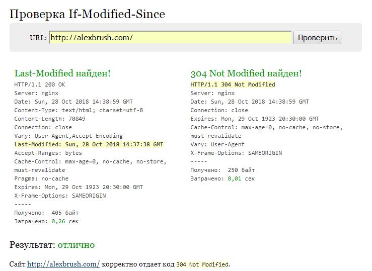 Заголовок Last-Modified - настройка и проверка