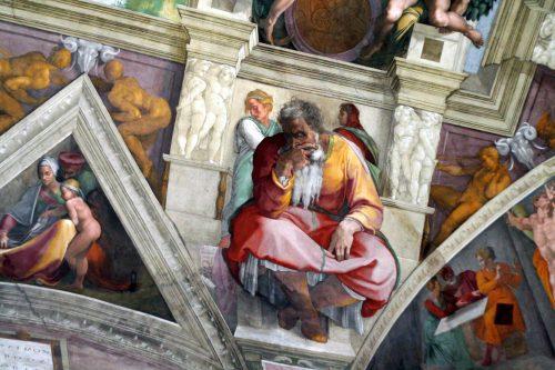 O Profeta Jeremias, no teto da Capela Sistina, por Michelângelo.