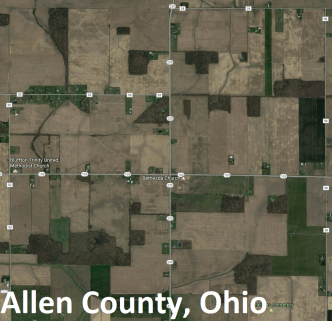 My childhood farm, pictured center, in grid with other farms on the Jefferson Grid (Google Maps, 2017)