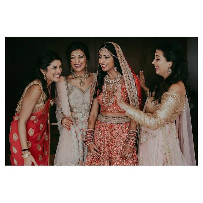 Indian bride and guests for her wedding