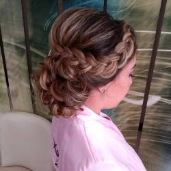 Braided updo for bridesmaid, Royalton Riviera Cancun