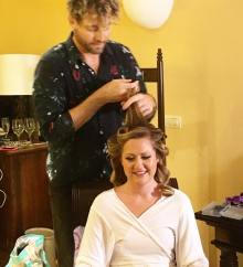 Alex executing the hairstyle for Katie's wedding day in Iberostar Paraiso Lindo