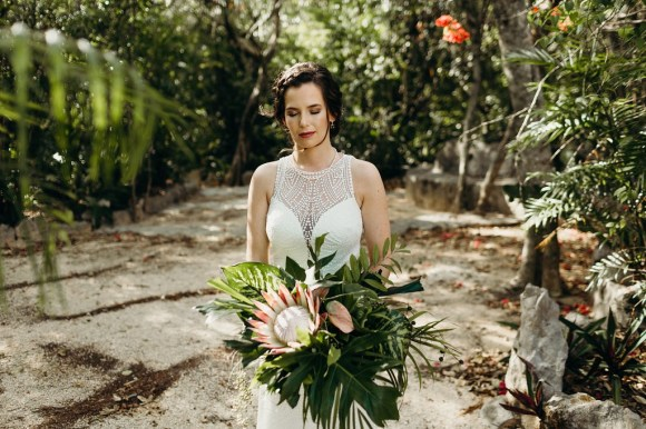 Fiona's before her elopement ceremony in Cenote Buho, Riviera Maya, Tulum, Mexico