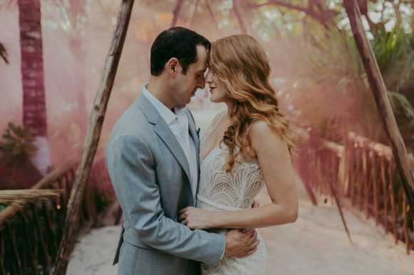 Elopement hair and makeup, couples just got married in mia tulum,mexico