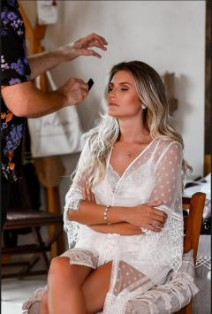 viviane the bride gets hair and makeup done by master artist alex corbanezi in Tulum,mexico