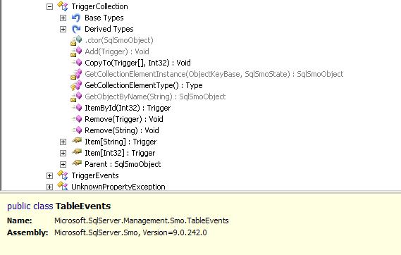 SQL SMO TriggerCollection inreflector
