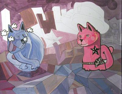 2004_BlueAndRedCatDrinkin