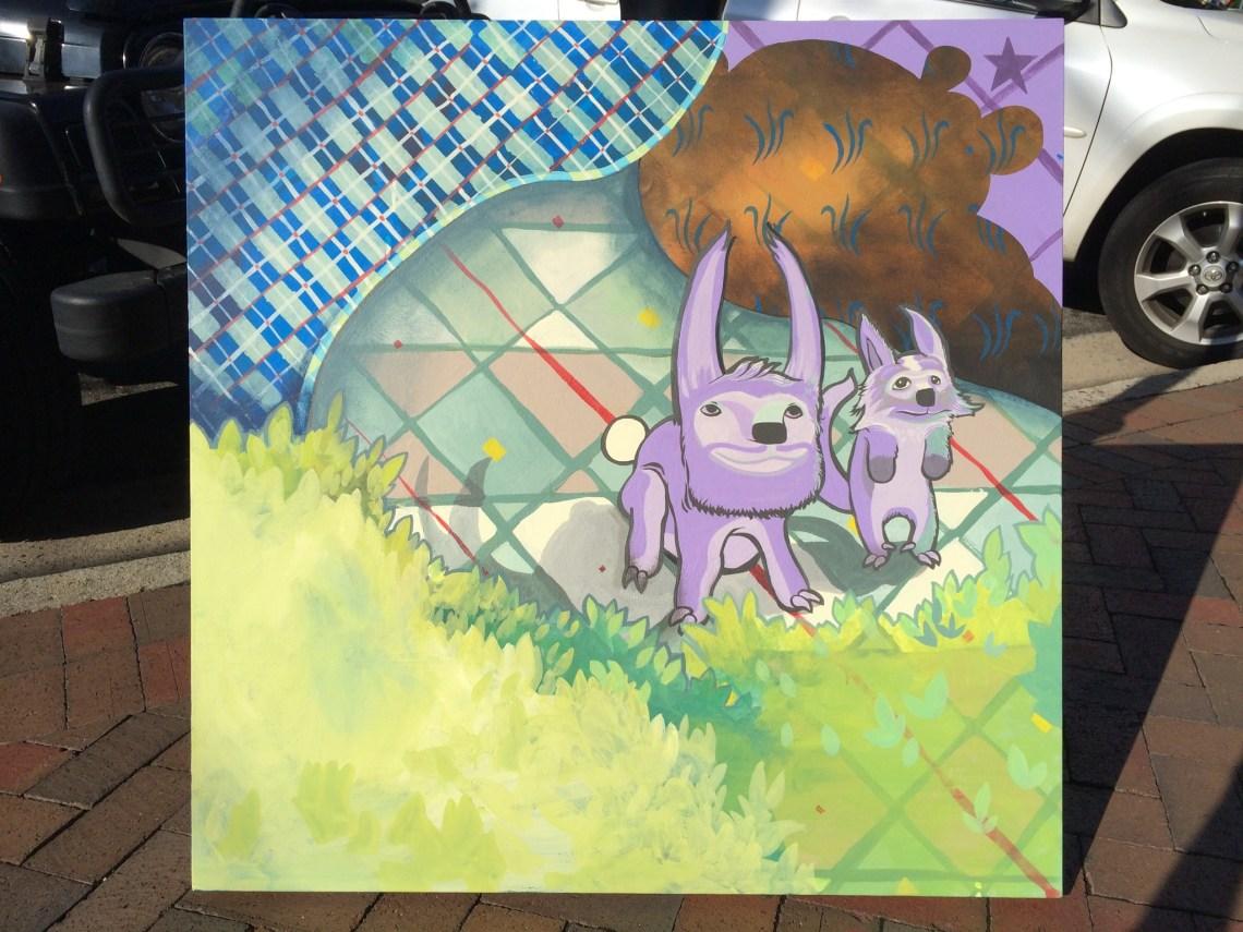 2 purple animals's on a plaid background. 2014, alex feliciano