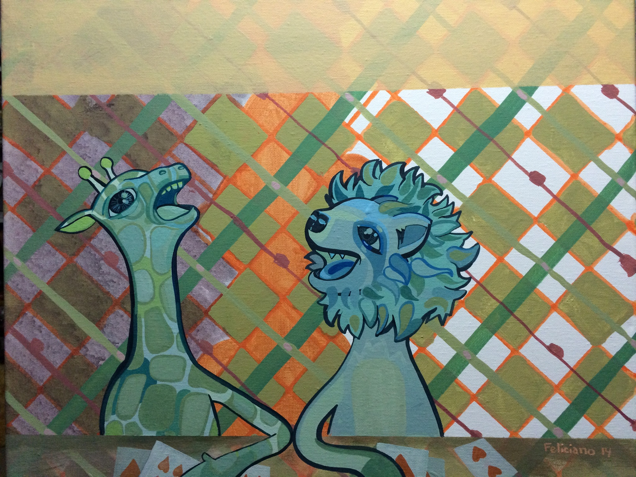 Plaid animals, more new paintings