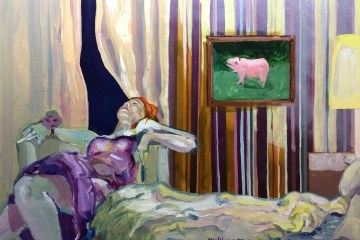 a painting woman reclining in a hotel room