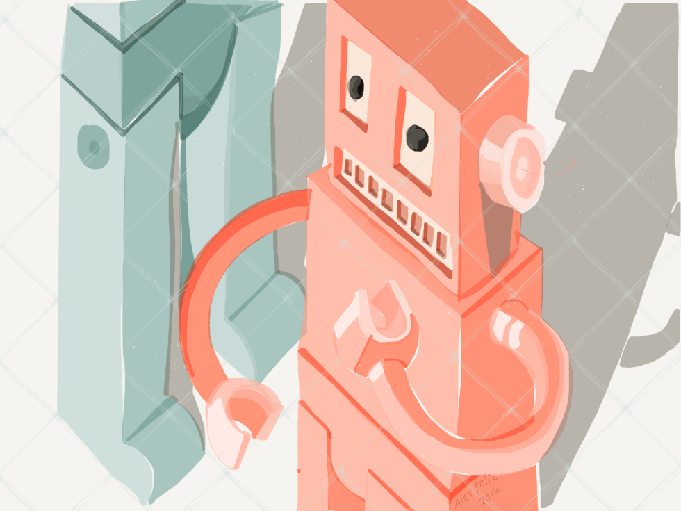 Pink and blue robots.