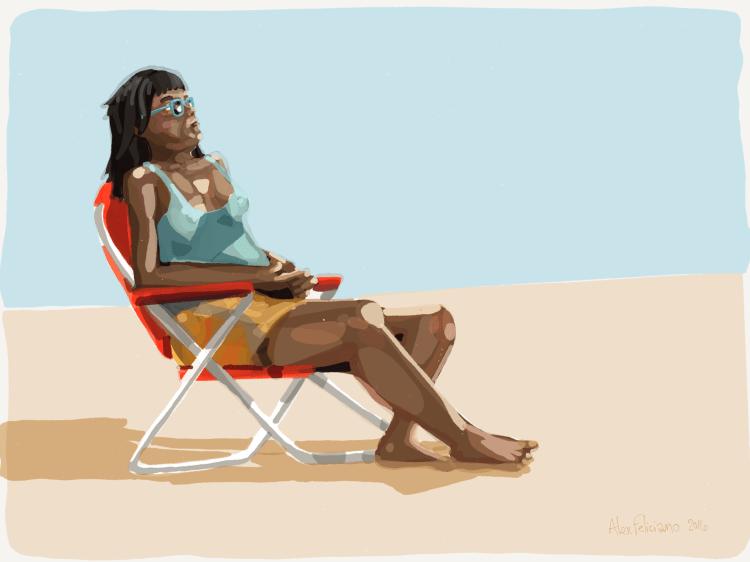 woman sitting on a sandy landscape
