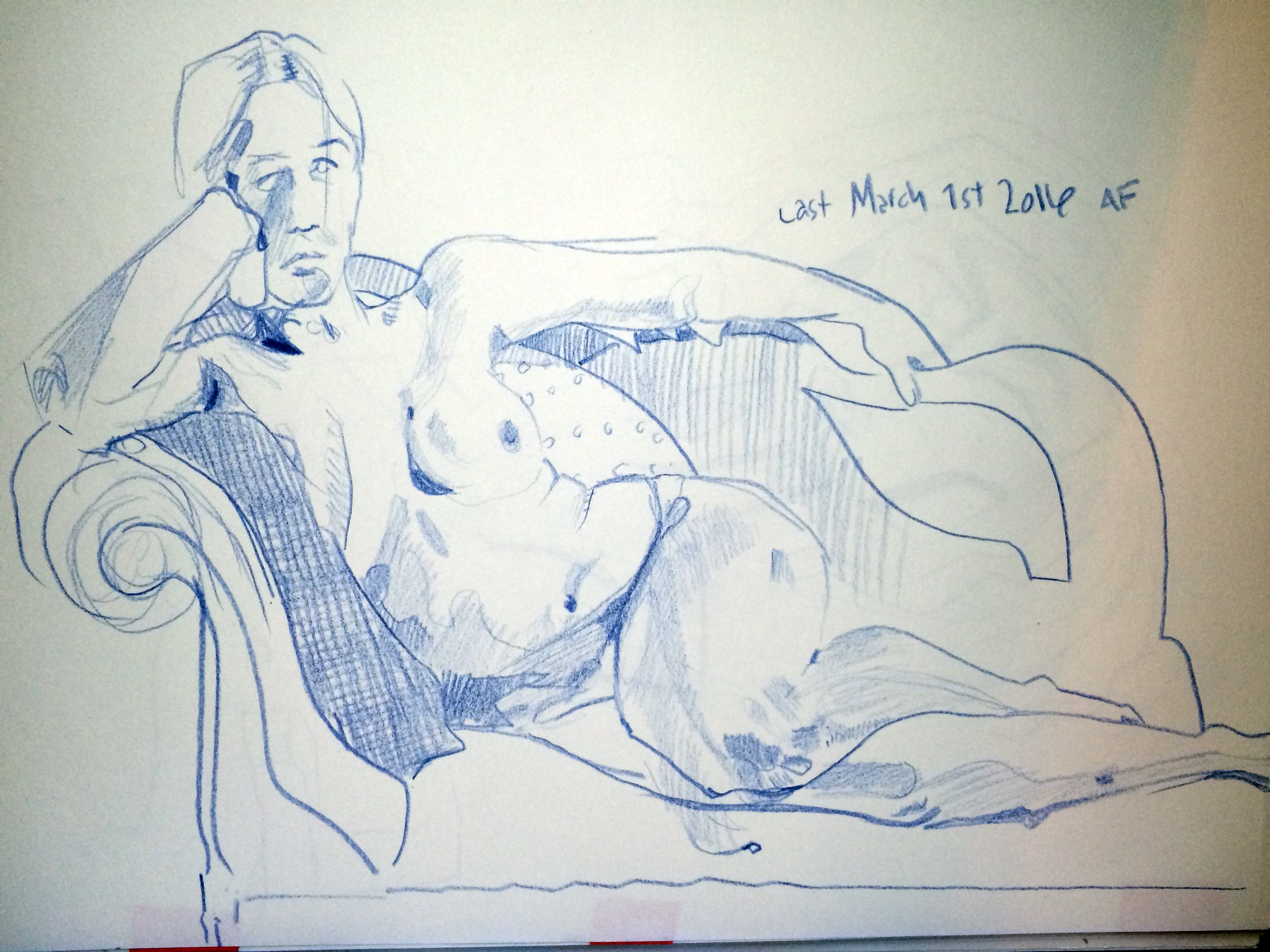 Figure drawing event, Sketchbook look.