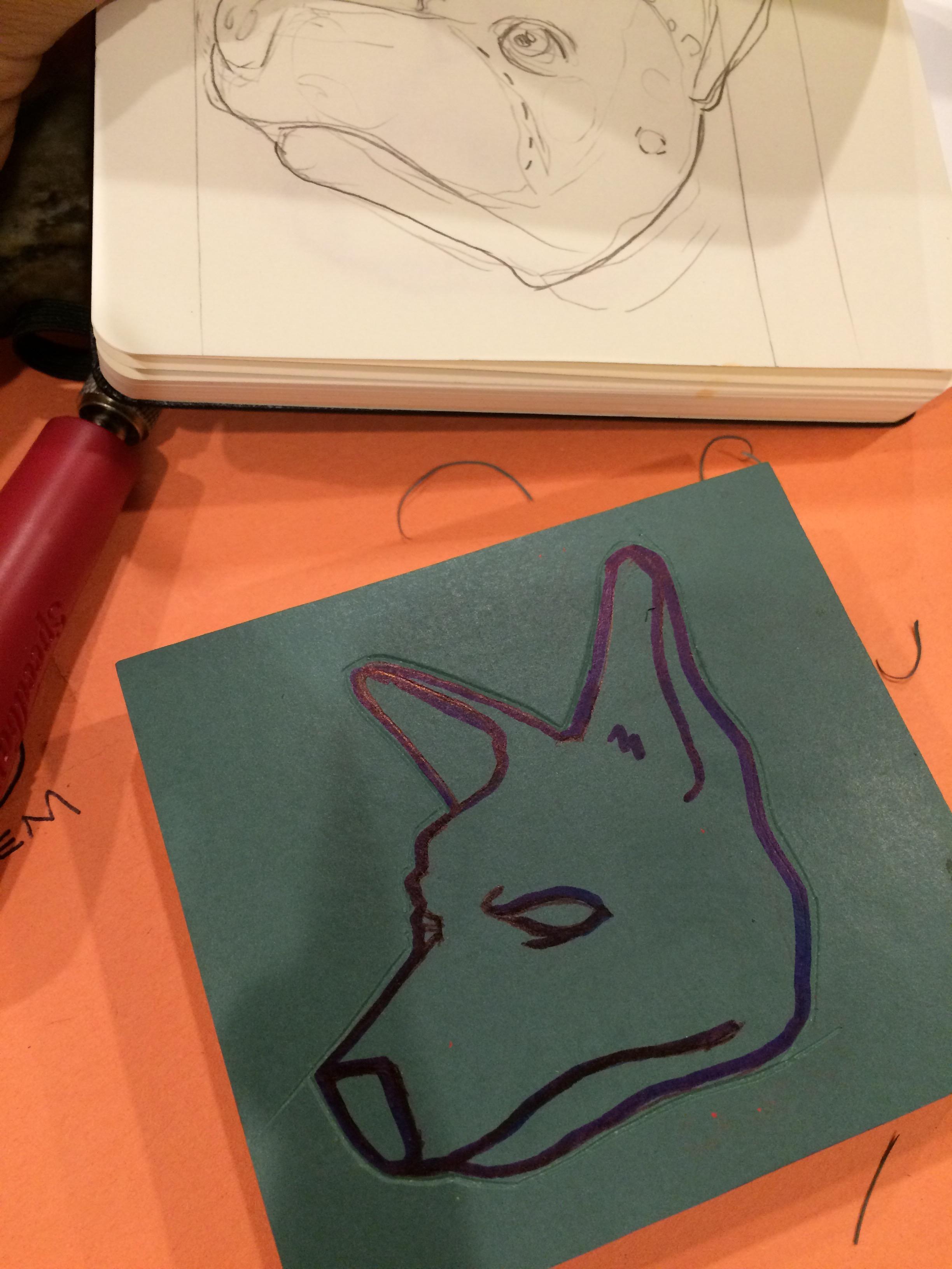 The sketch, transferred to the linoleum block.