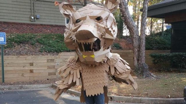 Alex Felicano in Cardboard bear costume