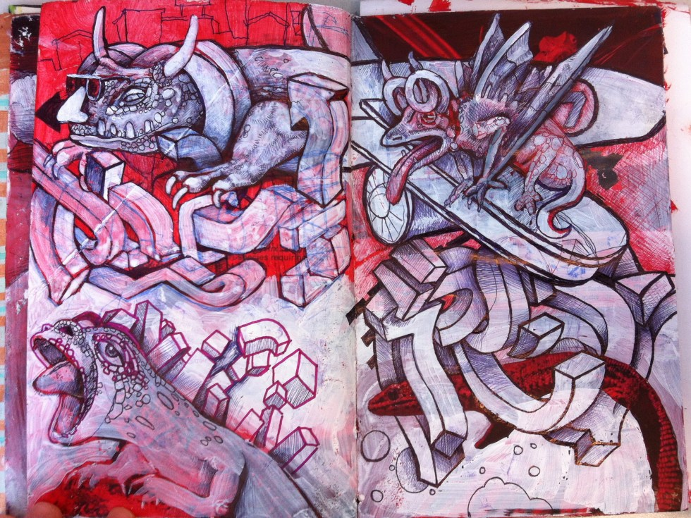 alex feliciano sketchbook all about lizards red black and white